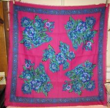 """Vtg Challis by Berkshire Scarf-31"""" x 31""""-Made in Italy-100% Polyester-Dark Rose"""