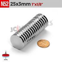 "25 x 3 mm 1""x1/8"" N52 Super Strong Round Disc Rare Earth Neodymium Magnet Fridge"