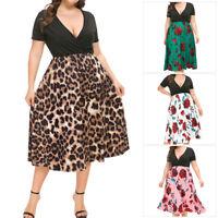 Plus Size Ladies Summer Boho Party Evening Short Sleeve Long Midi V Neck Dress