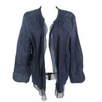 Eileen Fisher Irish Linen Silk Top Shirt Blue Women's M Long Sleeve Open Front