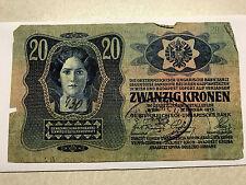 1913 Austria 20 Kronen Hand Stamp VG+ #5407