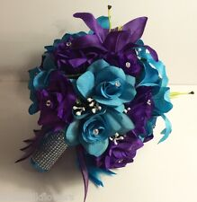 Malibu Wedding Round Bridal Bouquet Package Turquoise Purple Silk Flower 21 pc
