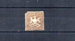 GERMAN STATE WURTTEMBERG. 1860 SCOTT# 19. THIN PAPER.  CATALOGUE VALUE $1,125.00