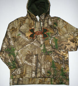 UNDER ARMOUR Camouflage Hoodie Sweatshirt REALTREE Xtra Camo Hunting Mens XL