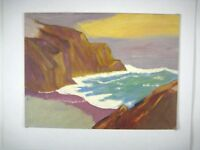 Acrylic Painting Seascape Coast Unframed 12 x 16 In Abstract Canvas Board Brown