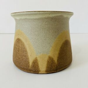Vintage Unglazed Stoneware Pot Brown Grey Curved Design Decorative Planter