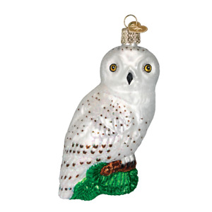 Old World Christmas GREAT WHITE OWL (16079)N Glass Ornament w/ OWC Box