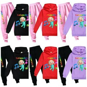 Cocomelon Kids Boys Girls Hoodies Tracksuit Hooded+Trousers Tops Pants Set UK