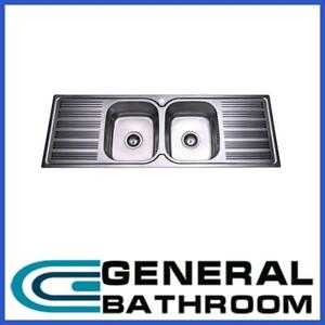 Stainless Steel Double Bowl Double Drainer Kitchen Sink 1380mm