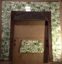 Complete Set Vintage Victorian Antique Fireplace Tile Mantle Surround Green