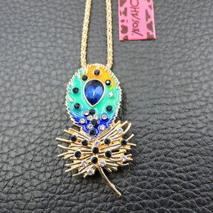 Betsey Johnson Blue Enamel Rhinestone Peacock Feather Pendant Necklace/Brooch