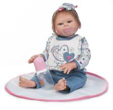 """More Real Looking 22"""" Full Silicone Reborn Baby Girl Soft Vinyl Newborn Dolls"""