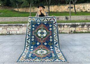 TURKISH VINTAGE HANDMADE TRIBAL BOHO STYLE WOOL AREA RUG COLORFUL ANTIQUE RUG
