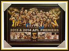 2013 & 2014 Hawthorn 2014 Back to Back Premiers L/E Print Framed Hodge Rioli BLG
