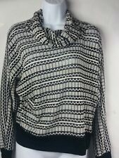 Cowl Neck Top Sweater Chenault Stripes Long Gift Casual Party Black White Medium