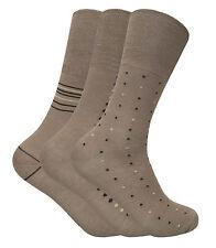 3 Pairs Mens Non Elastic Loose Wide Top Antibacterial Anti Sweat Bamboo Socks Beige