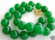 12MM AAA+ NATURAL GREEN JADE BEAD NECKLACE 18""