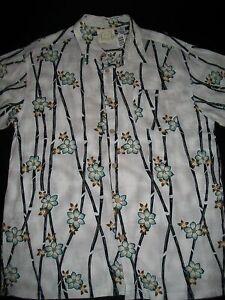 Green Bamboo Floral Men's Hawaiian Shirt White Size XL
