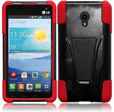 Verizon LG Lucid 2 VS870 Advanced HYBRID KICK STAND Rubber Phone Case Black Red