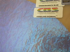 """Dichroic Glass:CBS 96 COE Green/Magenta Blue Crinklized on Textured Clear - 3""""Sq"""