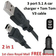 In Car 3 port Charger and Mini USB Cable for Tomtom Start SAT NAV GPS 5.1 A