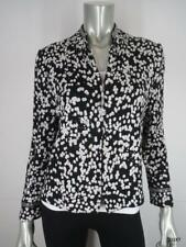 ST JOHN EVENING 14 Black Ivory Silver Animal Print Luxury Knit Blazer Jacket EUC