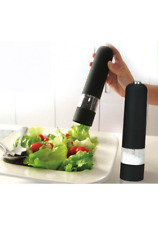 2 x BLACK Battery Operated Electric Salt Pepper Mill Grinder
