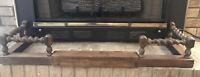 Antique English Oak Barley Twist Adjustable Length Hearth Fireplace Fender