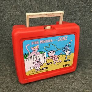 Vintage 1984 Pink Panther and Sons Plastic Lunch Box In EUC