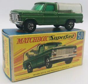 Matchbox Superfast #50 Niche Camion Vert Avec / Transparent Arrière Vintage 1968