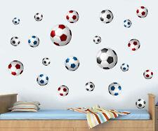 PALLONI da Calcio Pacco Da 22 Rosso Blu & Nero Wall art Adesivi Decalcomanie FC UTD BALL