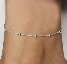 "Anklet 9"" + 1"" Ext Italy .925 Sterling Silver 925 Anklet, Rolo Bead Adjustable"