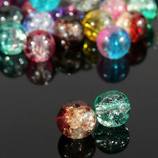100Pcs Mixed Crystal Crack Glass Round Loose Spacer Beads For DIY Jewelry Making