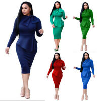 Fashion Women Sexy Slim Pencil Dress Bodycon Autumn Lady Long Sleeve Dresses