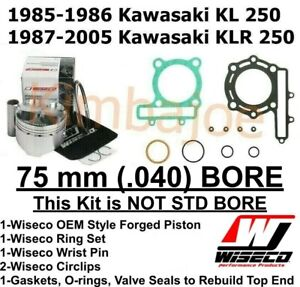Kawasaki KLR 250 KL 250 Listed 75 mm (.040) BORE Wiseco Piston Rebuild Kit