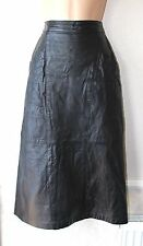 "Black Leather Pencil Office High Waist Pockets Calf length Skirt Size W27"" L30"""