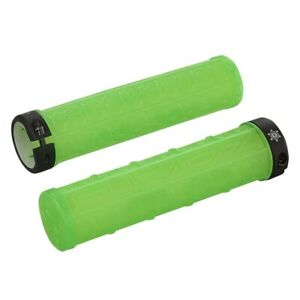 SupaCaz Grizips Clear Neon Green Handlebar Grips - Lock On - Lightweight XC MTB