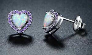 14K White Gold Plated Heart Shape Fire Opal Halo With Amethyst Stud Earrings