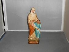 "VINTAGE 8"" CHALKWARE STATUE OF SAINT ANNE WITH CHILD PATRON OF TEACHERS"