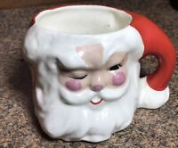 Vintage Santa Claus Christmas Holiday Mini Mug Ceramic Cup Head Vase Decoration