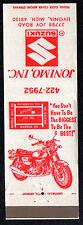 MOTORCYCLE Jonimo Inc. SUZUKI Joy Road Livonia MI Vintage FRONTSTRIKE Matchbook