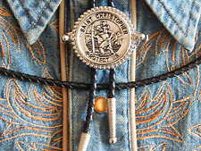 NEW  BOLO BOOTLACE TIE ST CHRISTOPHER SILVER METAL LEATHER CORD WESTERN COWBOY