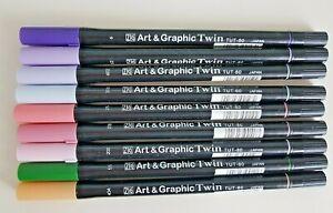 ZIG ART & GRAPHIC TWIN MARKERS~ TUT-80   X 9
