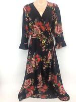 Women Ladies New PlusSize Long Floral Side Tie Knot Frill Sleeve Wrap Dress 4-24