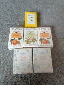 Vintage Crabtree & Evelyn Guest Soaps x 6 Spring Rain, Apricot, Almond & Citrus