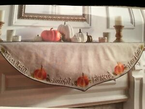 Fall Thanksgiving Mantel Scarf Blessed Thankful Grateful Embroidered Pumpkins
