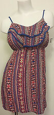 NWT JUNIOR'S JUSTIFY RED/BLUE STRIPED RUFFLED BOHO SUN DRESS LARGE MSRP $36.00