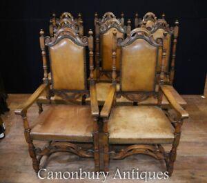 Antique Oak Dining Chairs - English Farmhouse Chair 1880
