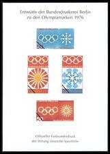 SPORTHILFE 1976 BUND ENTWÜRFE OLYMPIA OLYMPIADE OLYMPICS PROOFS m580
