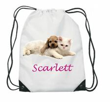 PERSONALISED GYM BAG. DRAWSTRING, SWIMMING, PE, SPORT, SCHOOL, ANY NAME, CAT/DOG